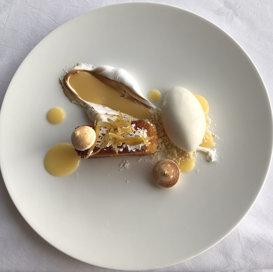 lemon polenta cake with toasted meringue and roasted lemon sorbet the Headland