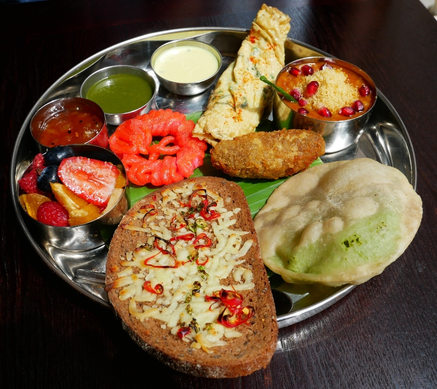 Vegetarian Thali tray at Little Kolkata