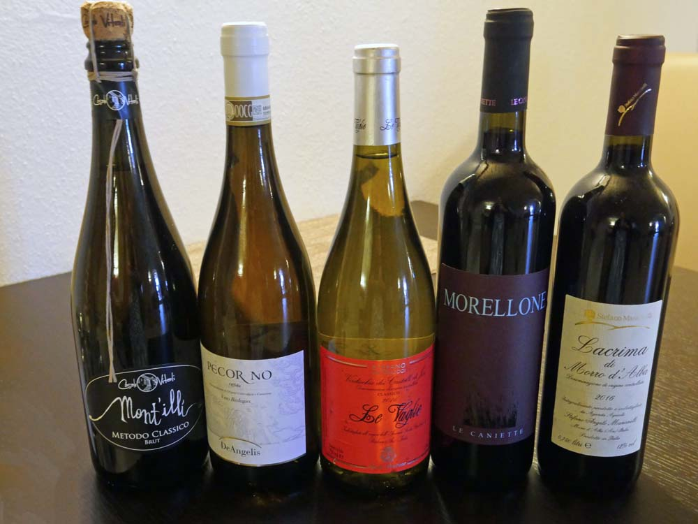 Marche wines for pairing Dinner at Hotel Leone