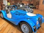 Morgan motor car in blue and white
