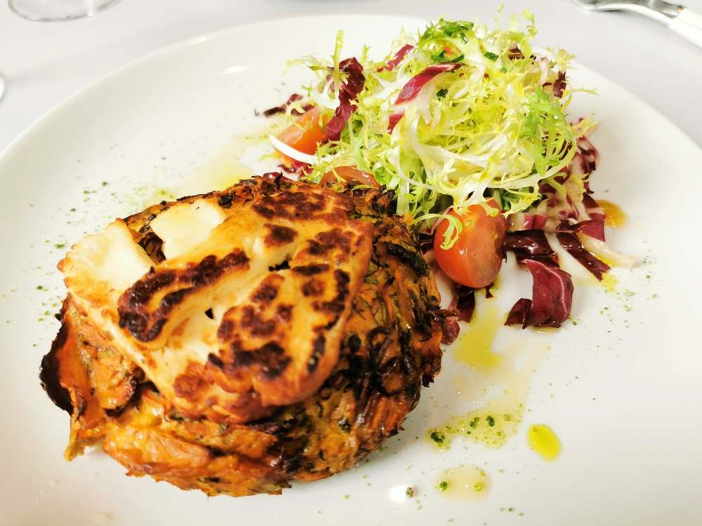 Courgette fritter with grilled halloumi at the National cafe