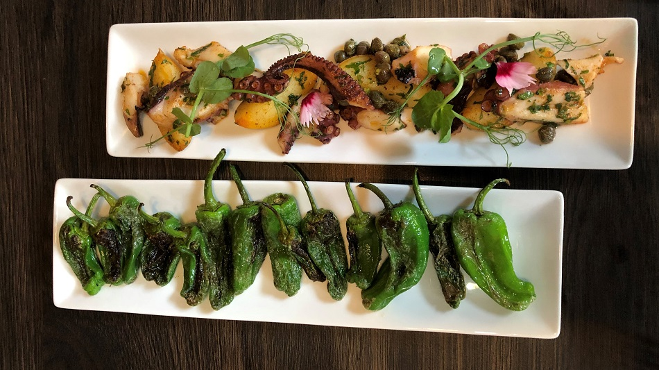 Padron peppers and grilled octopus tapas Copper Leaf London Hampton Wick