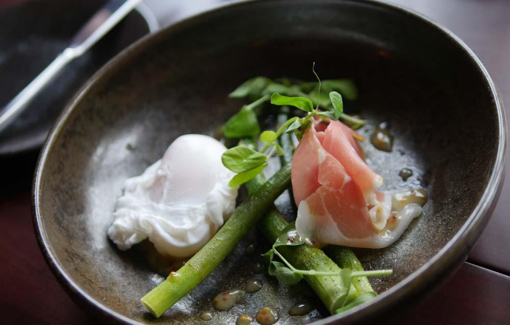 Poached Egg Asparagus Ham Bonham Hotel