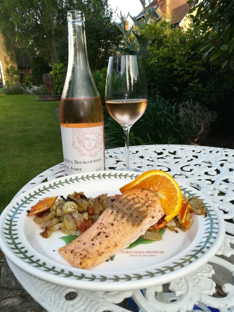 Rose Sancerre with oven baked salmon