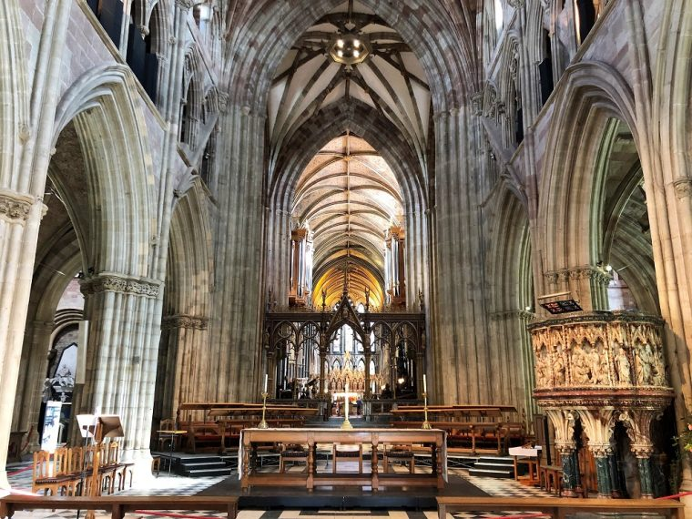 Worcester Cathedral view of altar from the nave