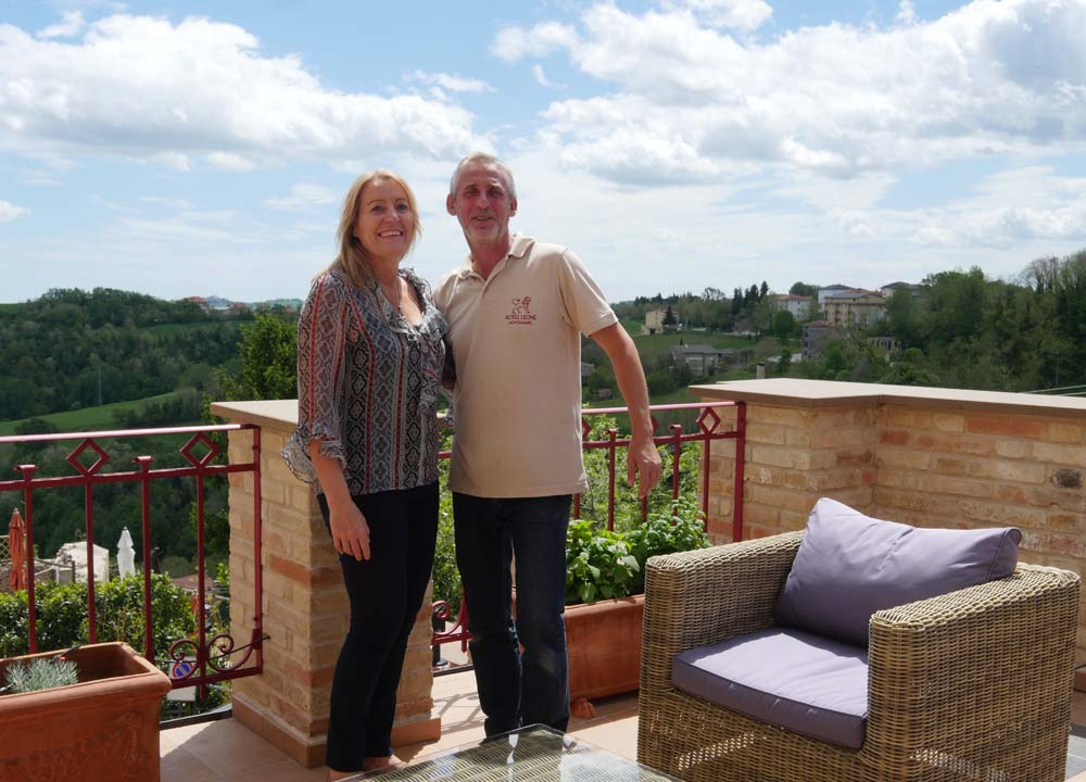 Tim and Madeleine owners Hotel Leone Marche