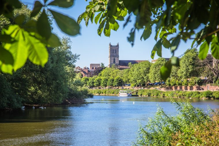 view of Worcester Cathedral from the River Severn