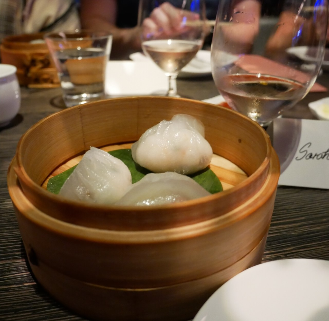 King crab dumplings paired with Whipsering Angel rose at Yauatcha