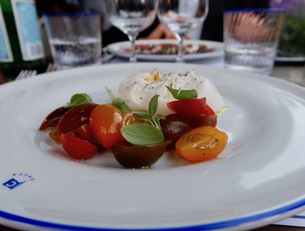 Burrata with sweet heritage tomatoes
