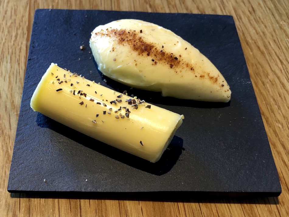 Seasoned Cornish butter and mushroom infused butter the restaurant Old Quay House