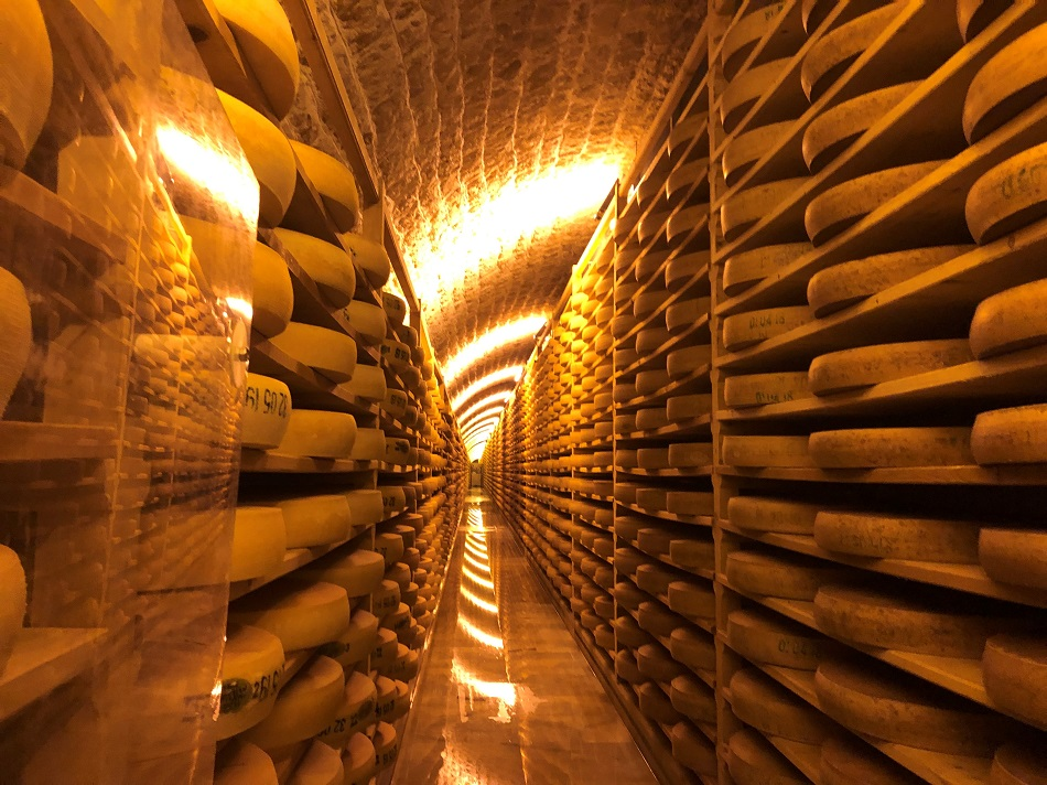 One of the many Comté cheese caves in the Cave affinage Jurafore