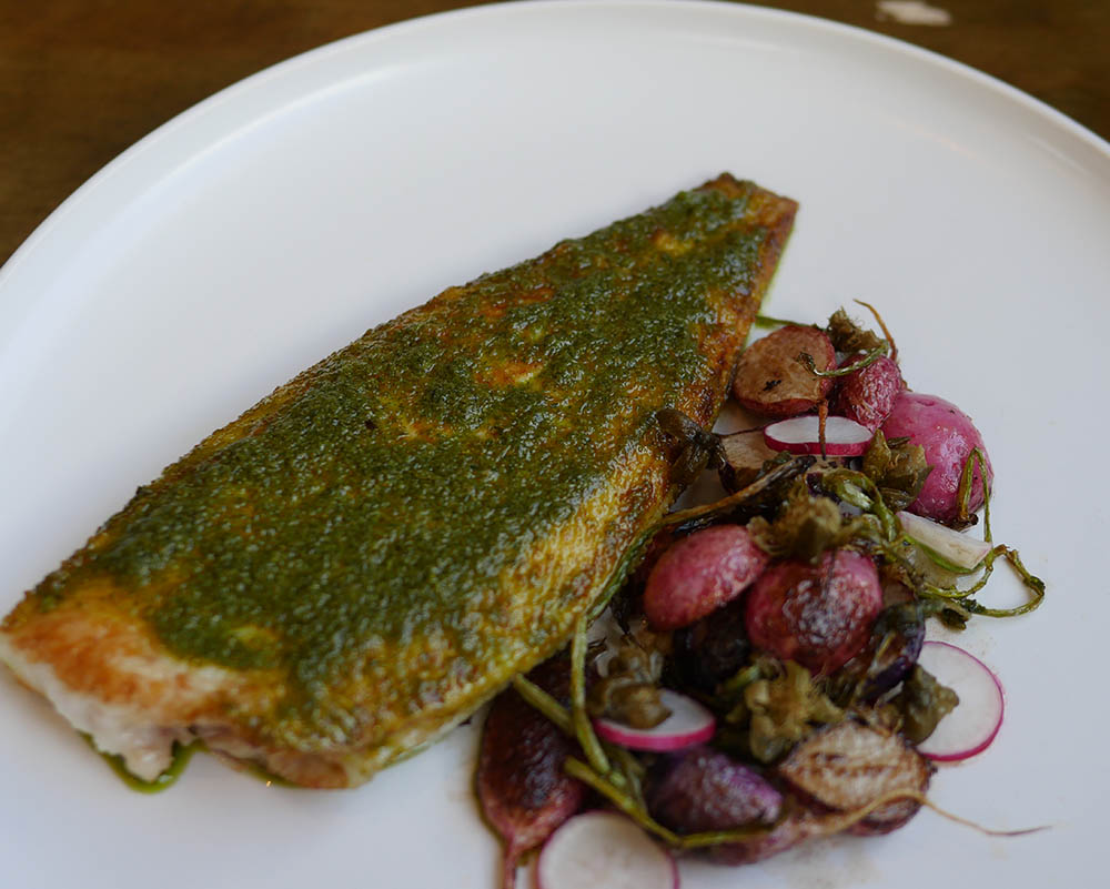 Dover Sole with Roasted Radish and a green sauce