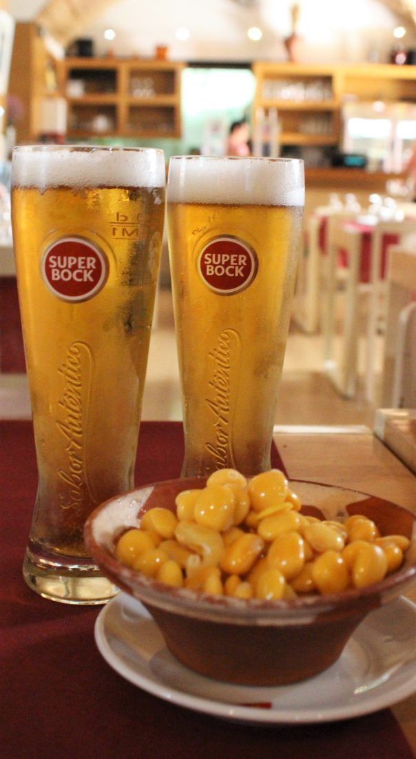 Eating Europe Lisbon, casa do Alentejo, beer with beans-