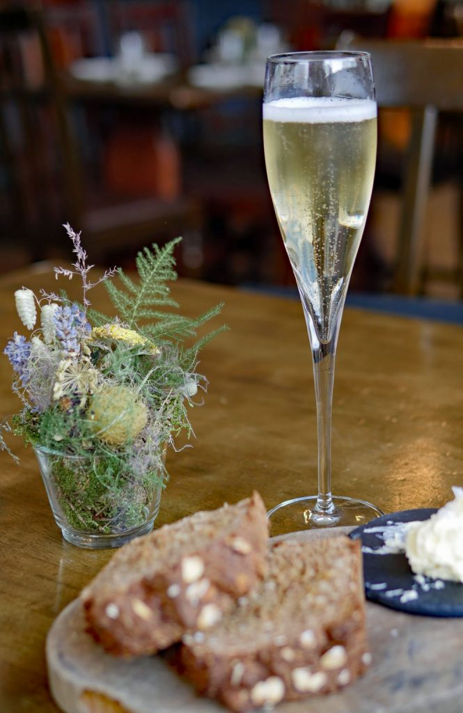 Gusbourne sparkling wine, Soda Bread and Butter Harwood Arms