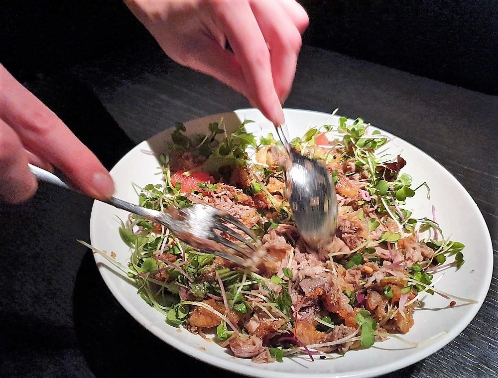 Hakkasan - duck salad mixed at the table