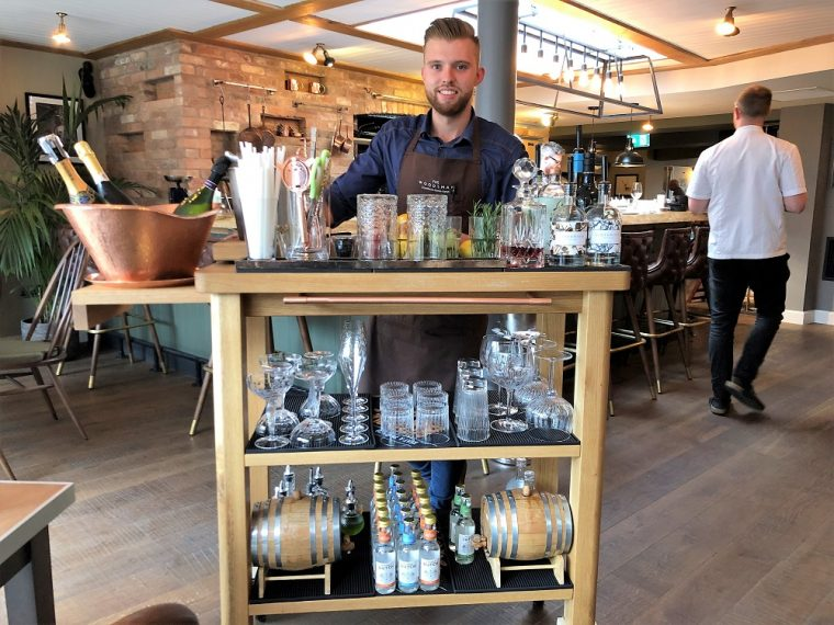 the drinks trolly in the Woodsman restaurant stratford upon avon