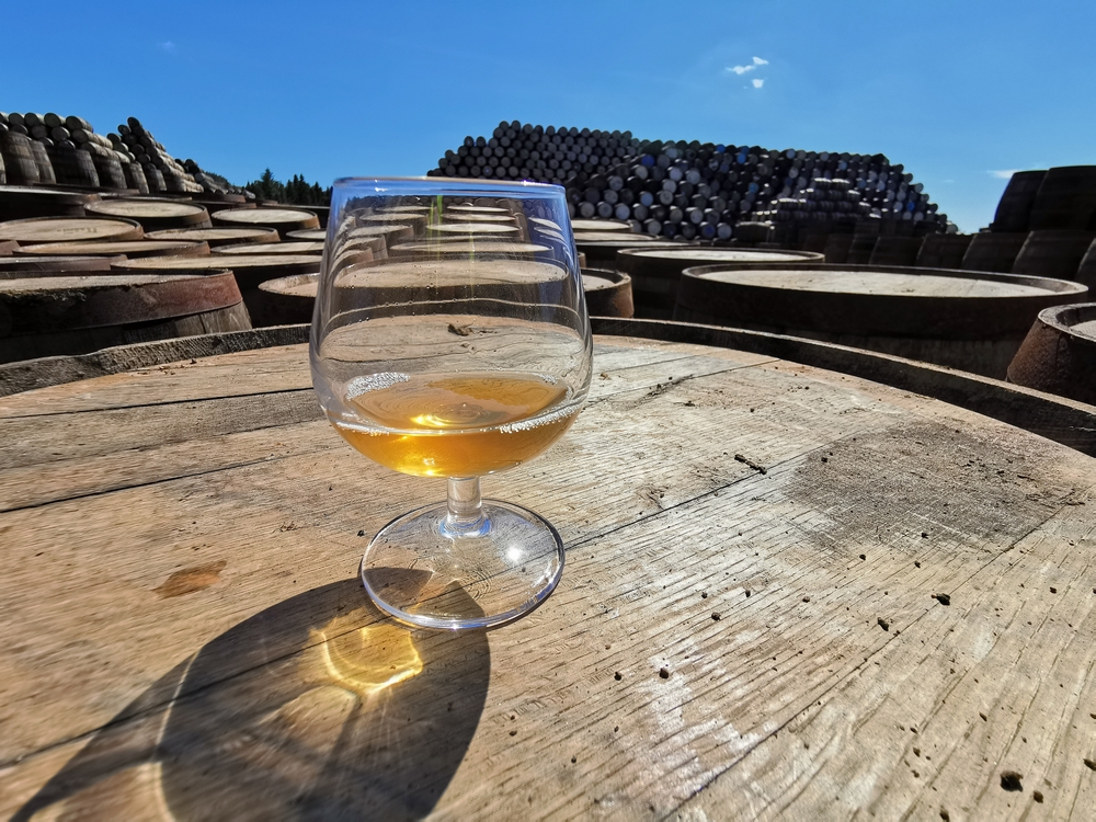 Tasting Innis and Gunn barrel-aged beer straight from the barrel in Craigellachie. Scotland