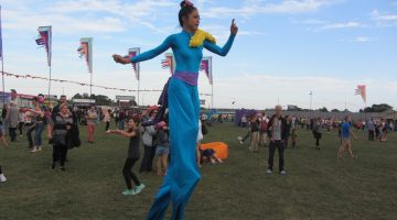Running stilt walker at On Blackheath