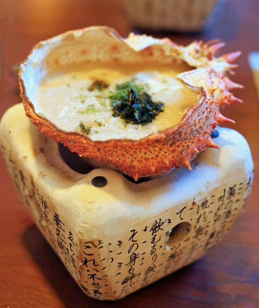 Spider Crab Congee in an earthenware stove at Hannah Japanese restaurant