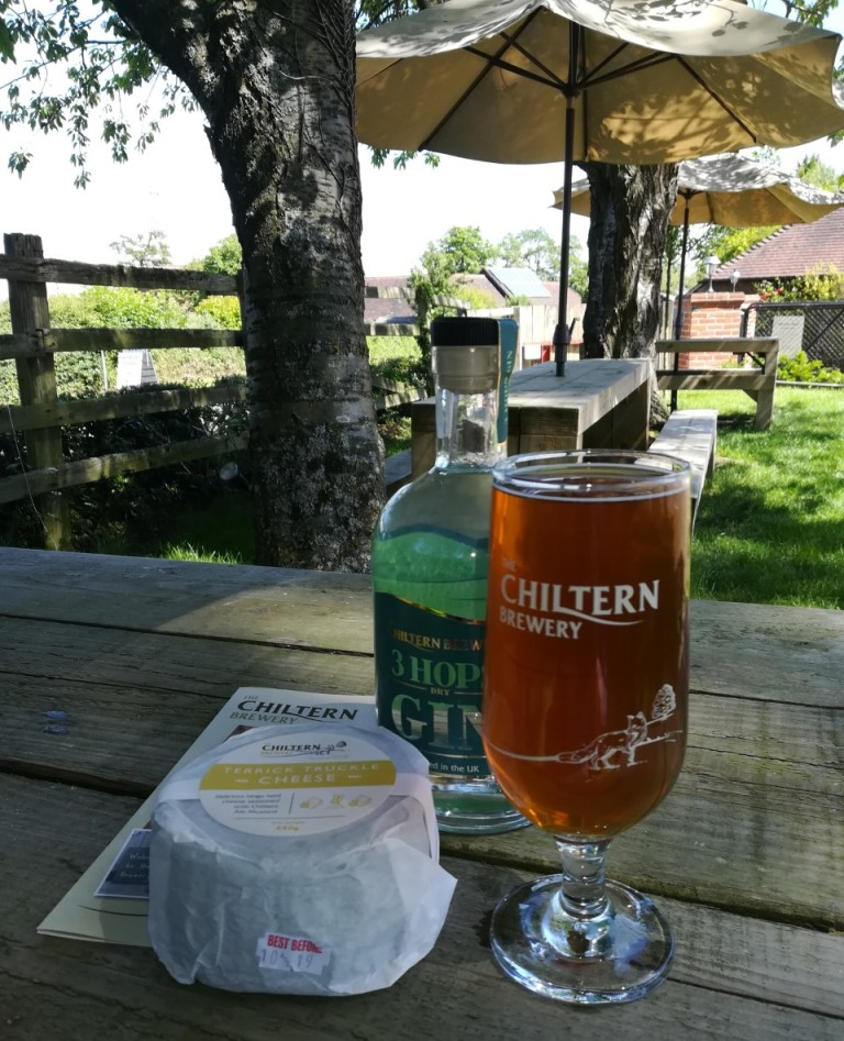 Cheese, 3 hop beer, and beer from the Chiltern Brewery