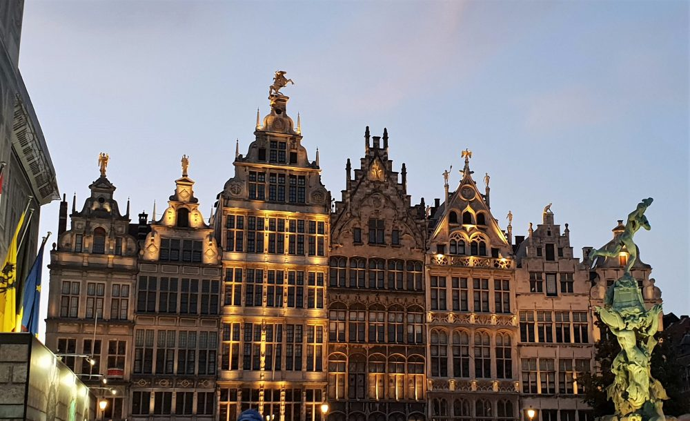 Visiting Antwerp, Grotemarkt at night-