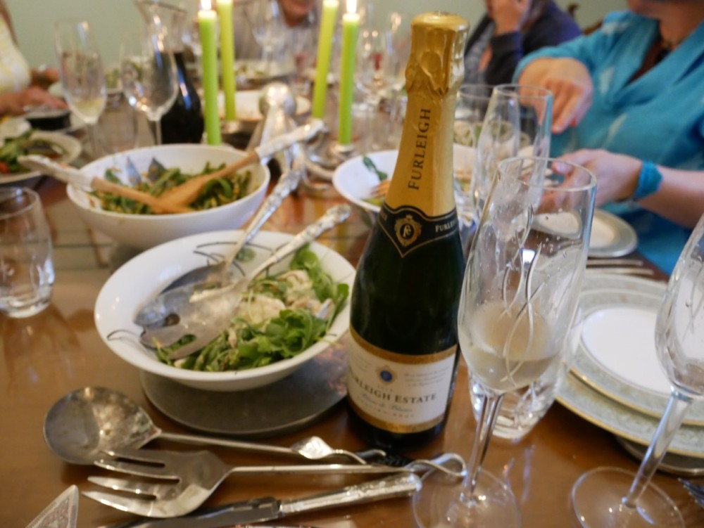 Furleigh sparkling wine with green bean and hazlenut salal