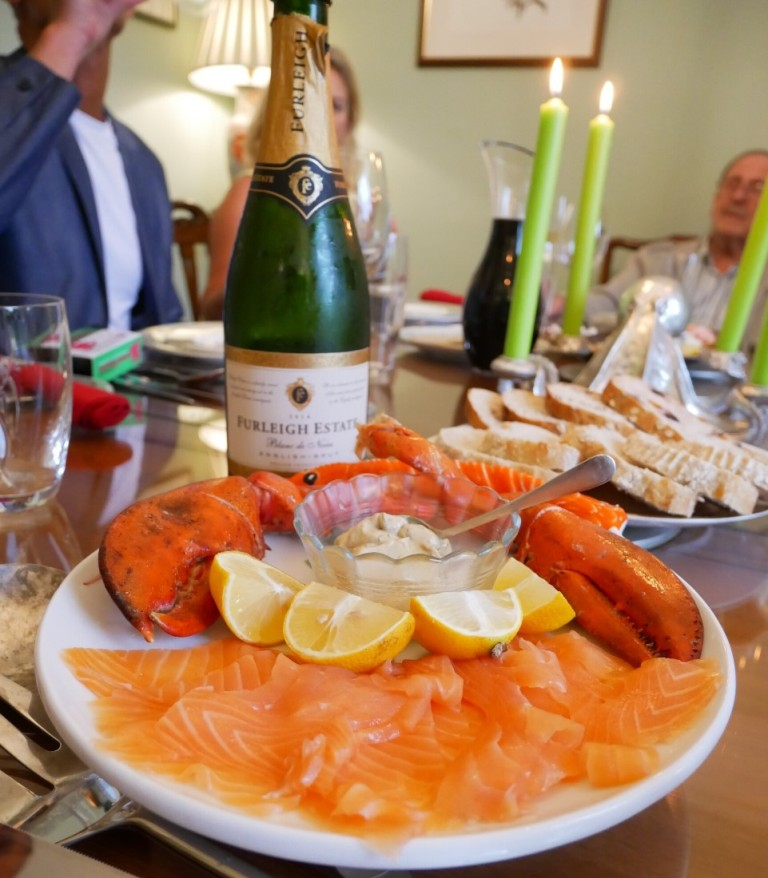 Furleigh Estate sparkling wine with seafood