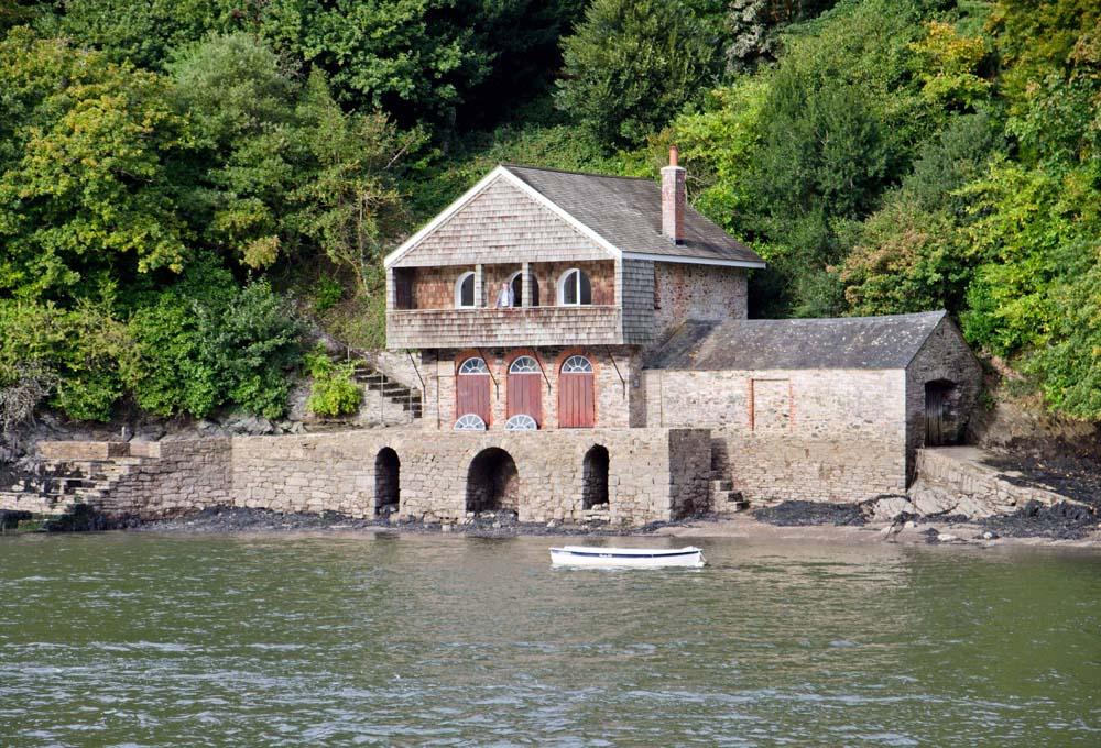 Greenway boathouse from the River Dart - copyright Alex Graeme, Unique Devon Tours
