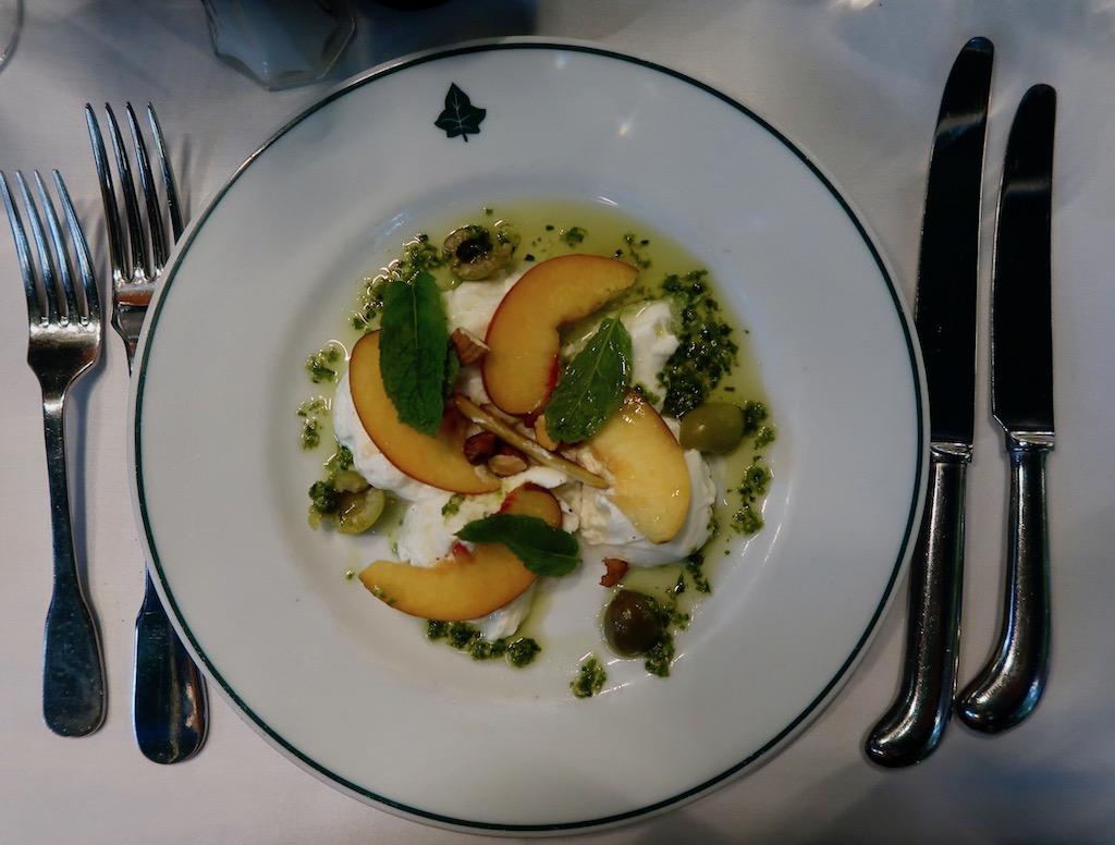 The Ivy Kensington Brasserie - buffallo mozzarella & peaches