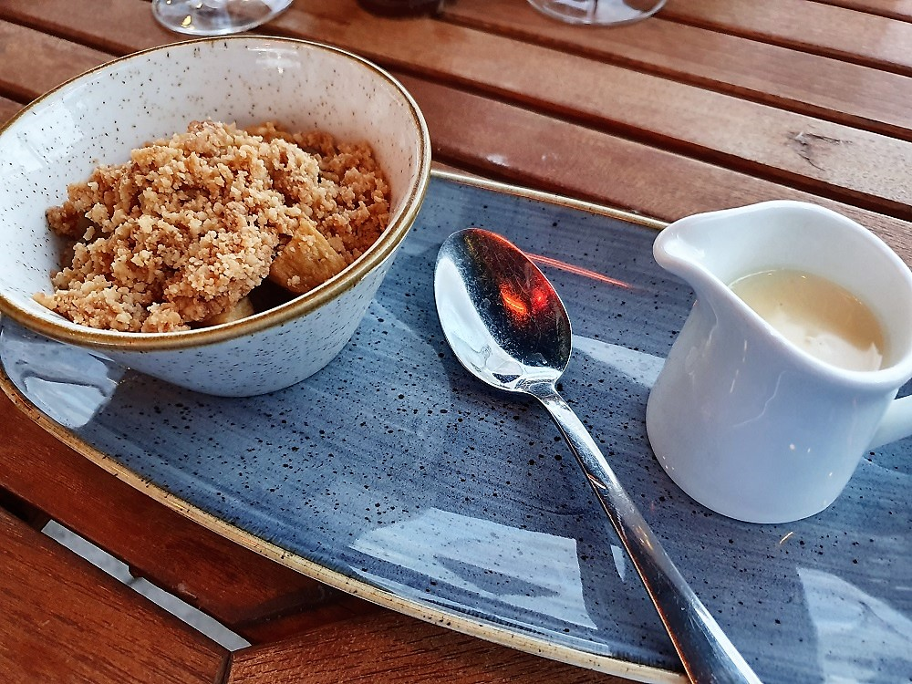 The Waterside - Apple and Rhubarb crumble.