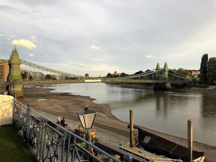 View of the River Thames and Hammersmith bridge from the Blue Anchor pub