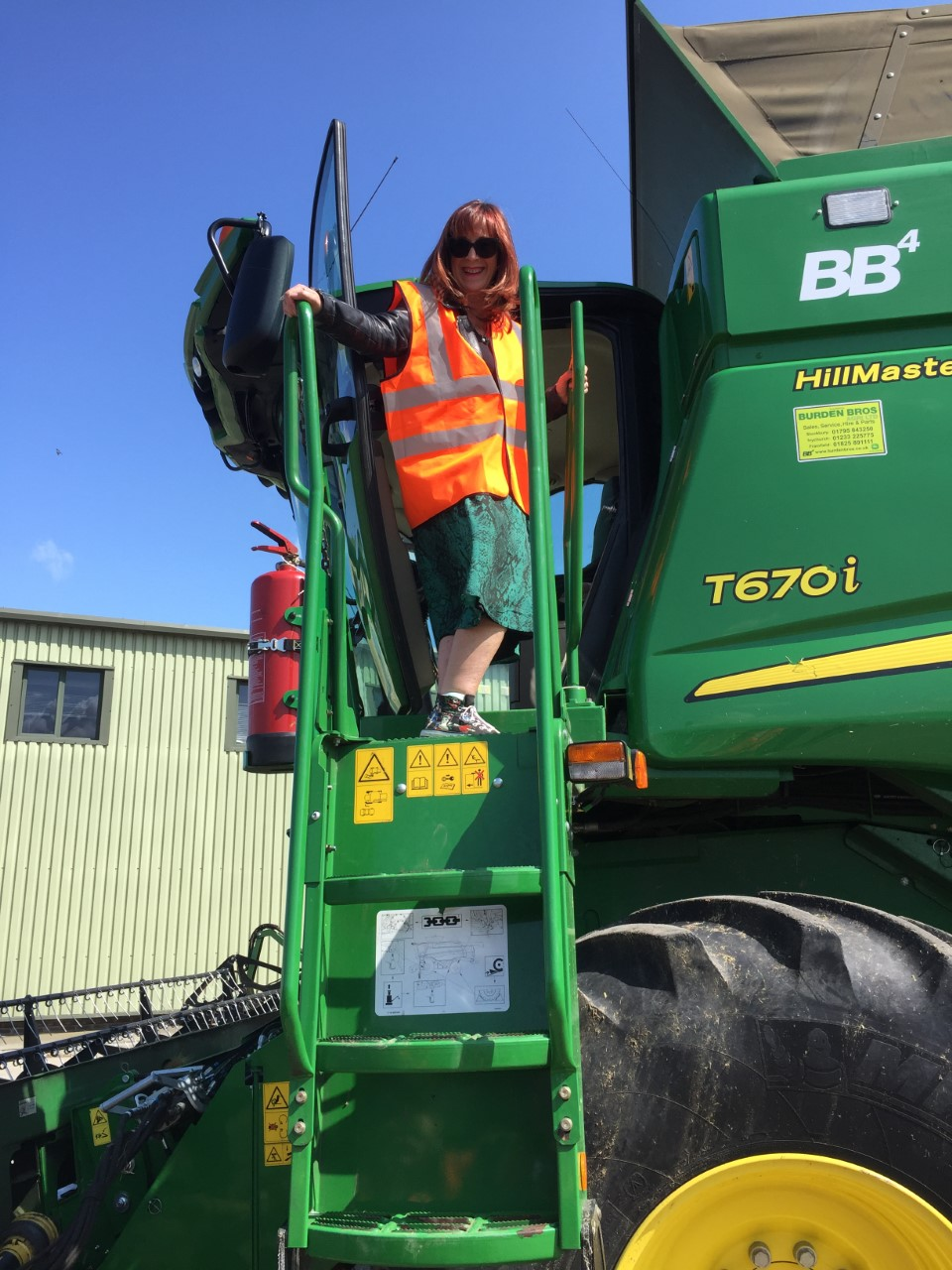 Climbing onto a combine harvester