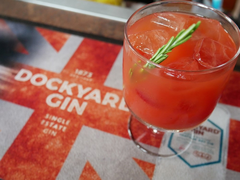 A cocktail made with Dockyard Gin and tomatoejuice