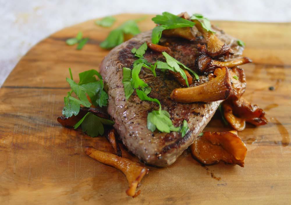 Steak with Chanterelle Mushrooms