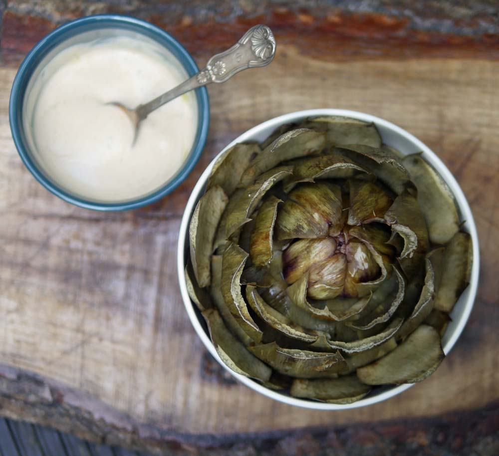 Steamed Artichoke Yoghurt Dip