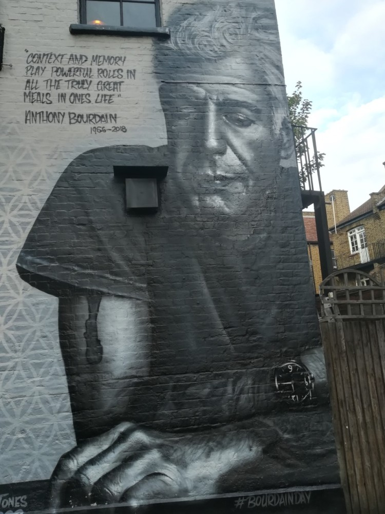Street art mural of Anthony Boudain
