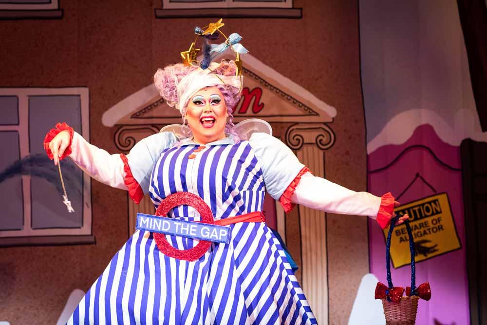Shobna Gulati as Madame Meanie in Cinderella - photo Helen Maybanks