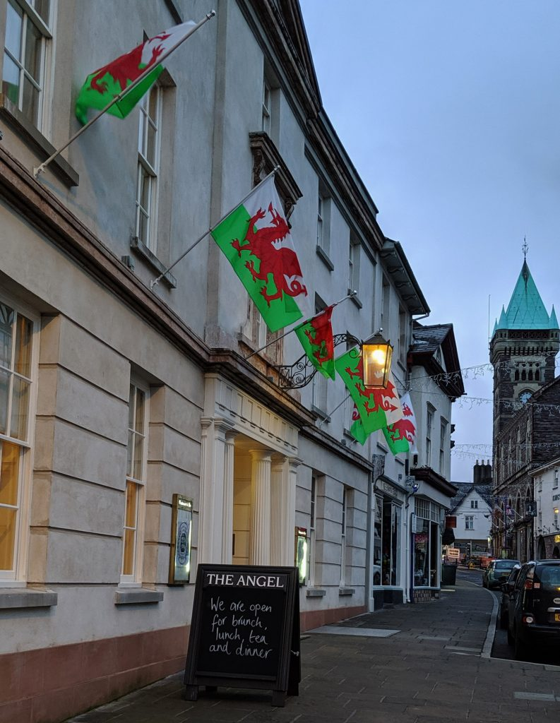 The Angel Hotel Abergavenny in the evening