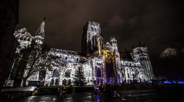 light projection on Durham Cathedral during Lumiere 2019