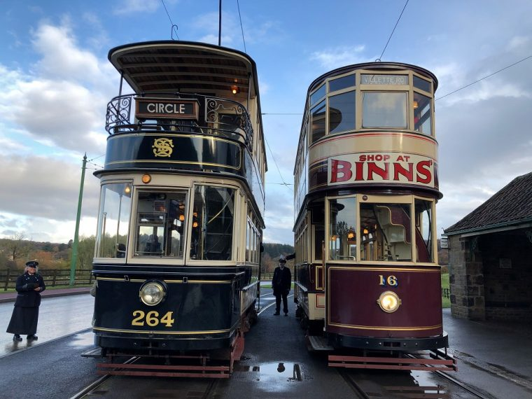 Trams at Beamish open air museum