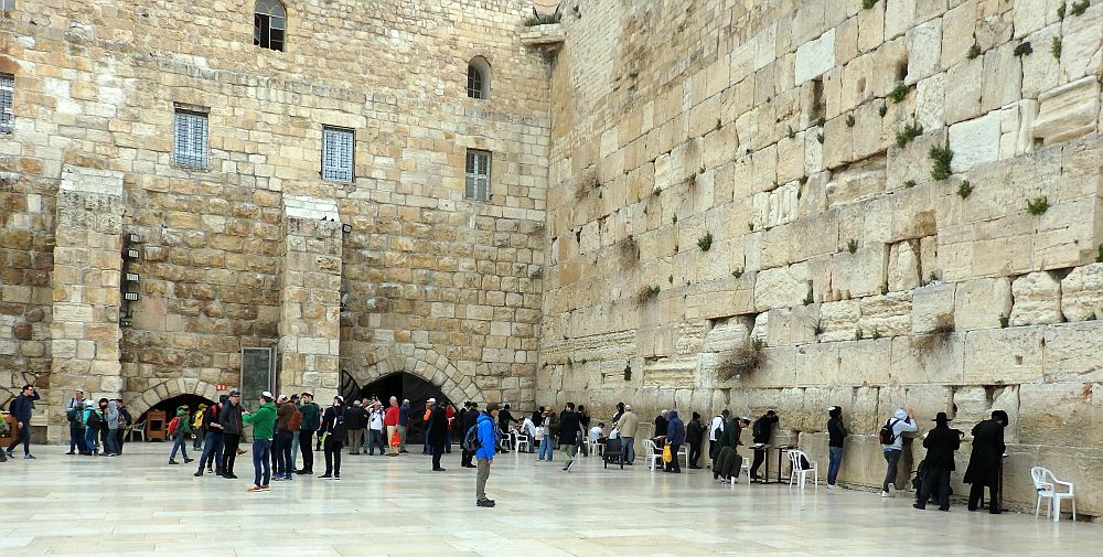 Men Praying at the Wailing Wall or Western Wall, Jerusalem