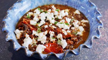 Aubergine and Puy Lentil with Feta