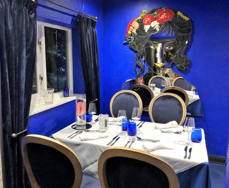 Inside the Blue Room in the Lion Hotel at Berriew