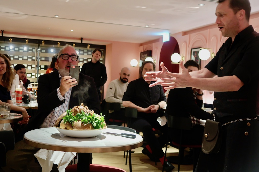 Burns Night at the Boulevard - addressing the haggis
