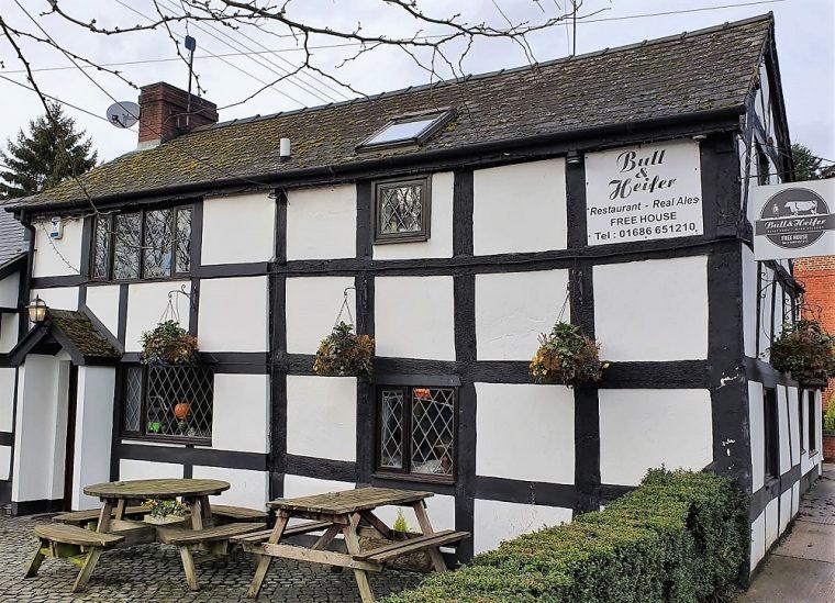 Exterior of the Bull and Heifer pub in Bettws Cedewain