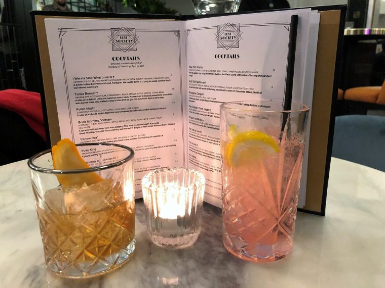 Cocktails with menu at Lost Society Putney