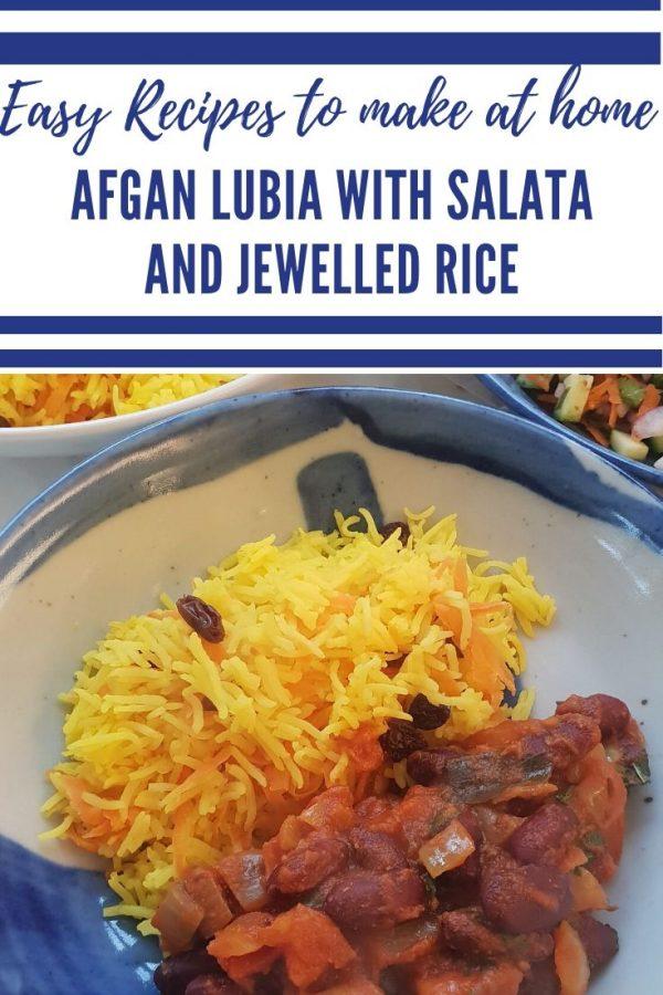 Lubia Recipe - Afgan Lubia, Salata and Jewelled Rice