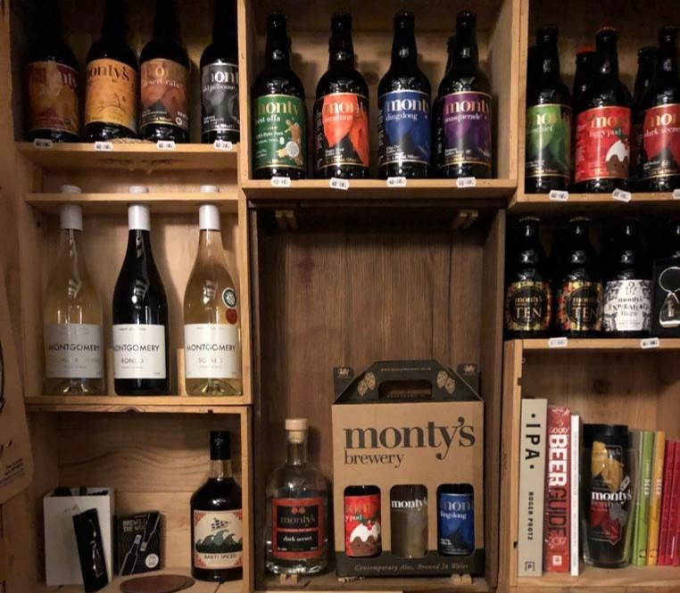 Montys Brewery - merchandise shelves.