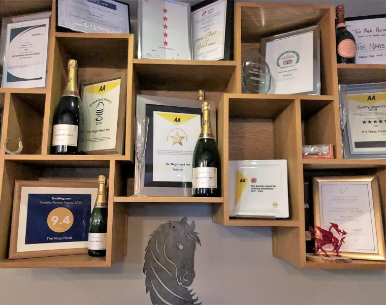 Wall covered with awards at the Nags Head