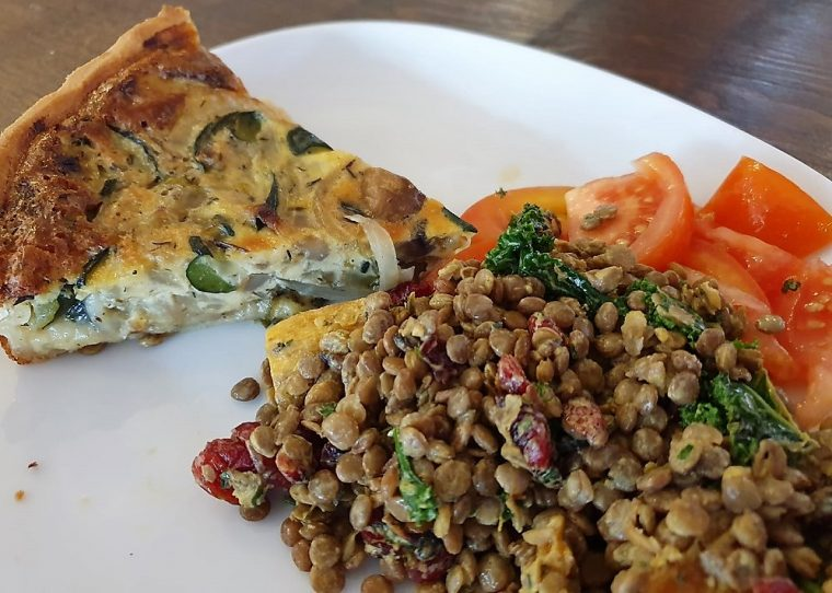 quiche with lentils and tomato at the Great